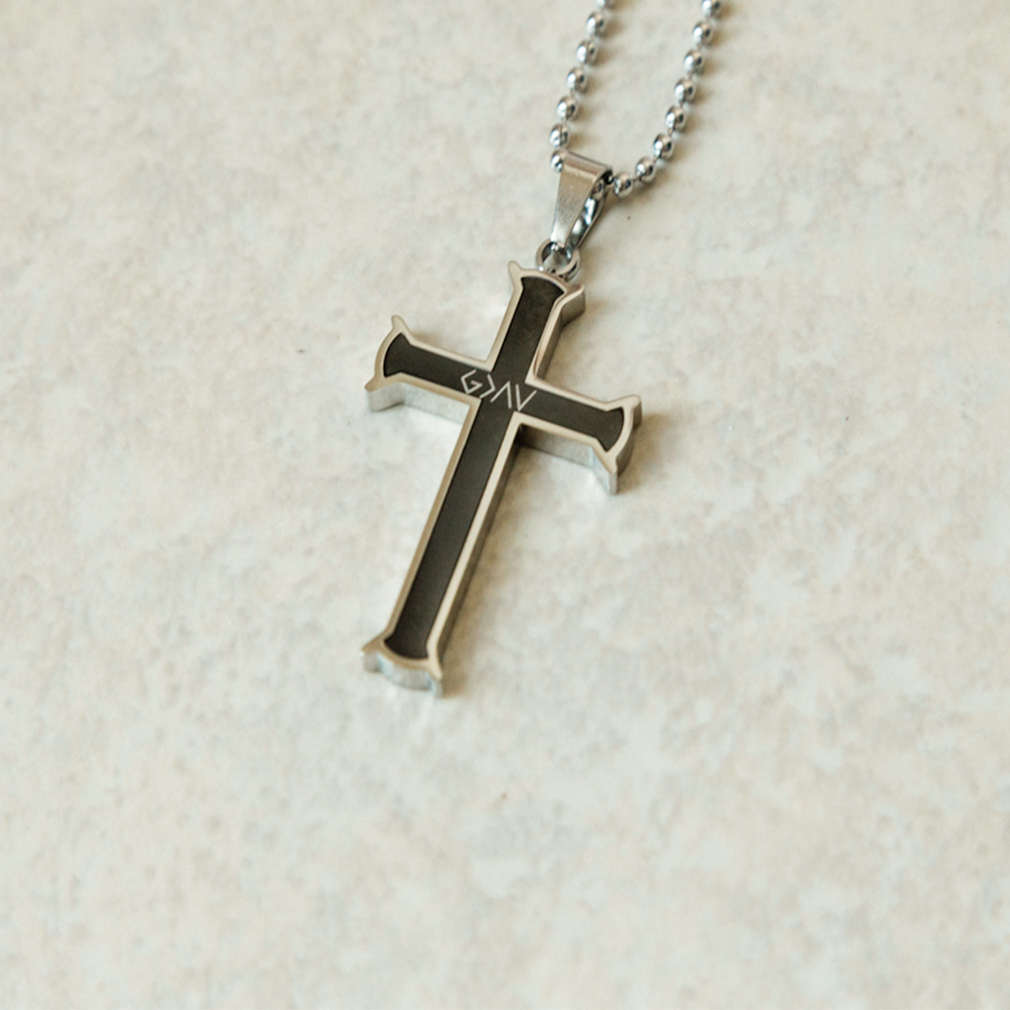 God is Greater Than the Highs and Lows Black Iron Cross Necklace - FP-CSNB101-BLK