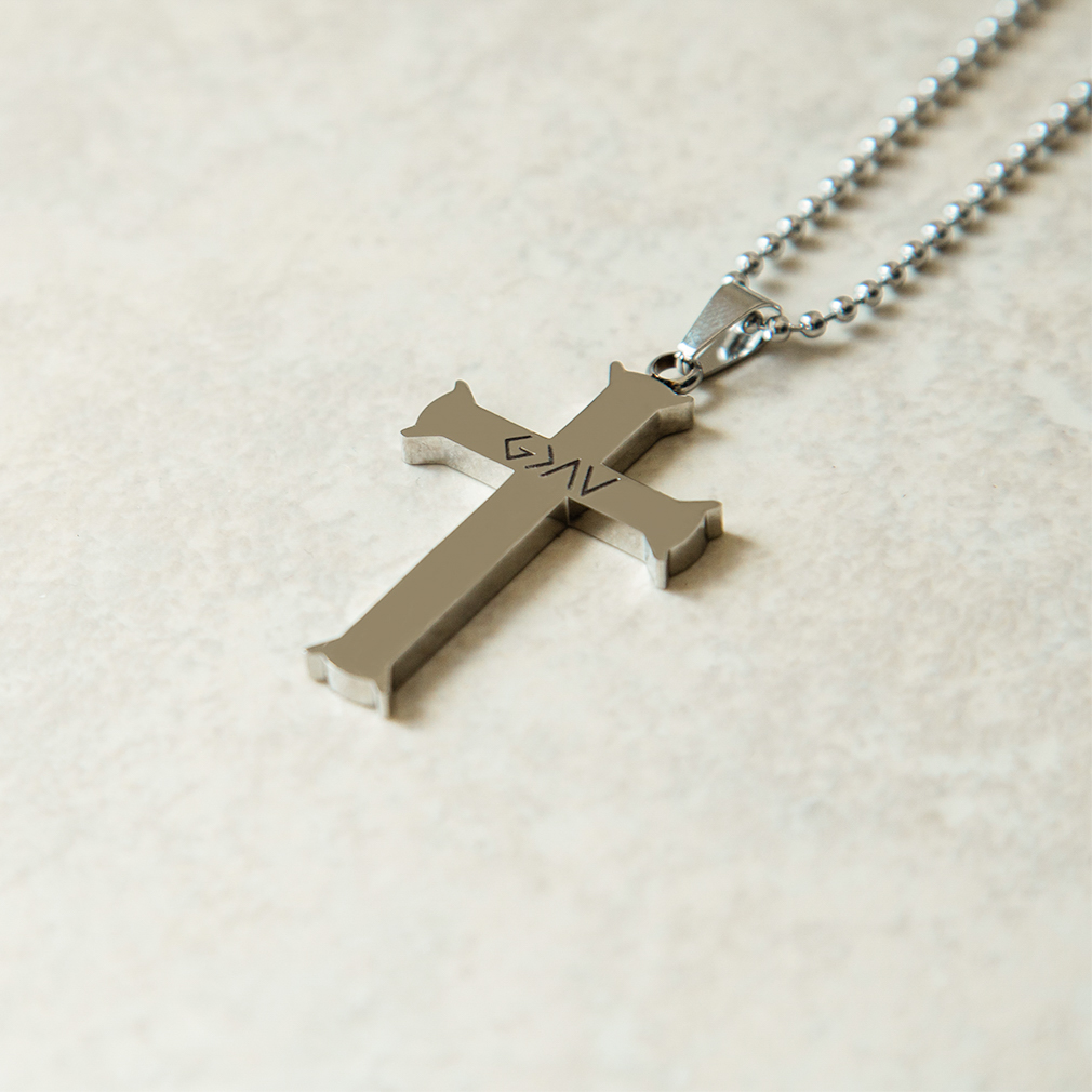 God is Greater Than the Highs and Lows Silver Iron Cross Necklace - FP-CSNB101-SLV