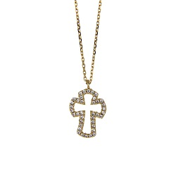Copper Plated CZ Open Cross Necklace