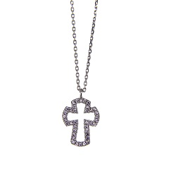 Sterling Silver CZ Open Cross Necklace