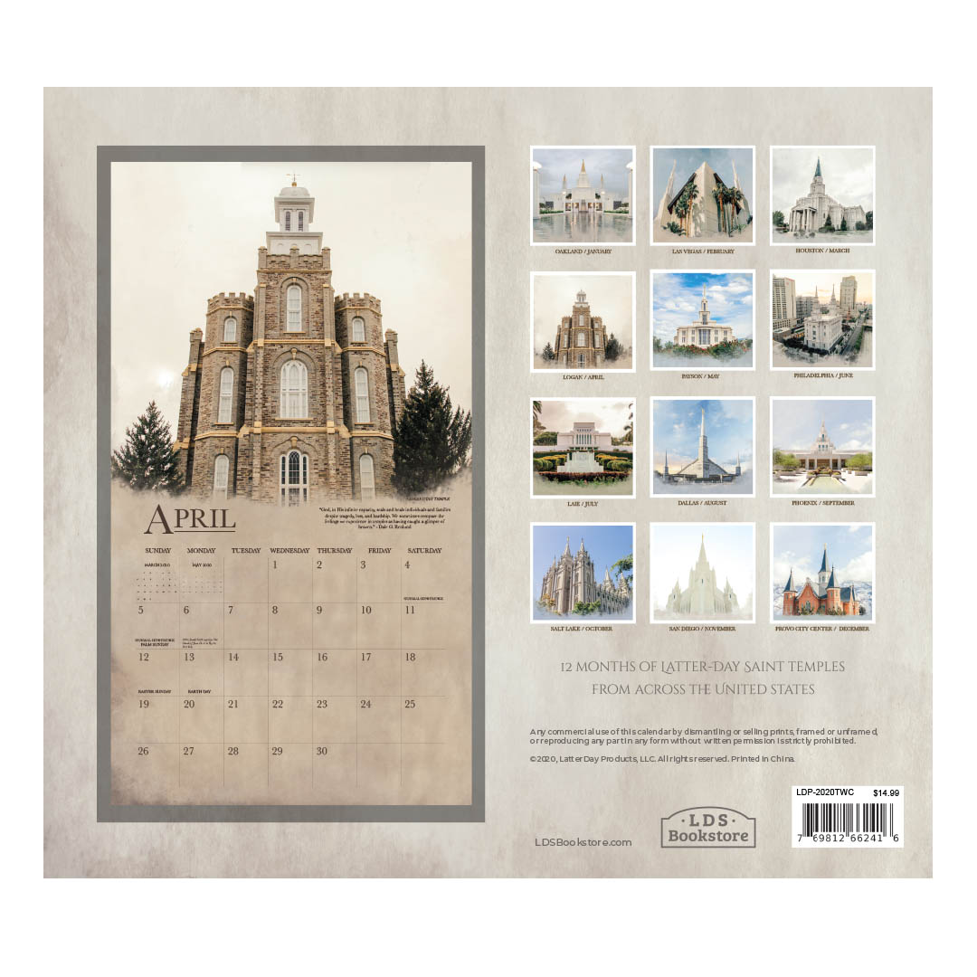 2020 Sacred Temples Calendar - LDP-2020TWC