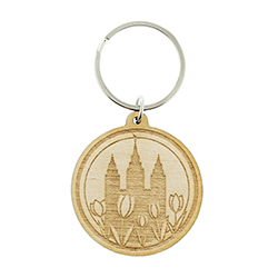 Floral Temple Wood Keychain
