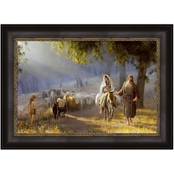 Journey to Bethlehem - Framed journey to bethlehem,journey to bethlehem art,joseph brickey, joseph brickey art,lds art,latter day saint art,lds bookstore,lds wall art,lds decor,latter day saint decor,simon dewey wall art