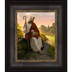 In The Shepherd's Care - Framed in the shepherds care,simon dewey,in the sheperds care simon dewey,in the shepherds care art,simon dewey art,jesus christ art,jesus christ artwork,christ art,christ artwork,lds art,lds artwork,lds wall art,lds bookstore