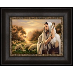 The Lord Is My Shepherd - Framed the lord is my shepherd,the lord is my shepherd art,simon dewey,as i have loved you art,simon dewey art,lds art,latter day saint art,lds bookstore,lds wall art,lds decor,latter day saint decor,simon dewey wall art