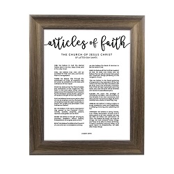 Framed Articles of Faith - Rustic Ash framed articles of faith, articles of faith framed