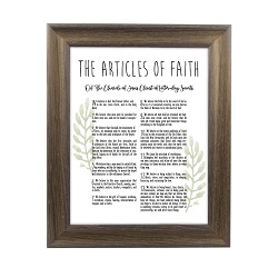 Framed Laurel Articles of Faith - Rustic Ash framed articles of faith, articles of faith framed