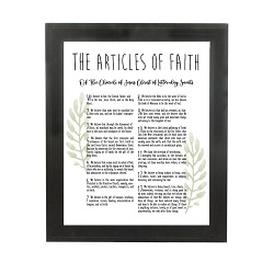 Framed Laurel Articles of Faith - Beveled Black framed articles of faith, articles of faith framed