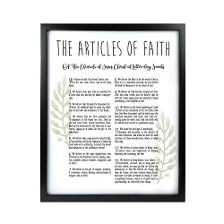 Framed Laurel Articles of Faith - Black framed articles of faith, articles of faith framed