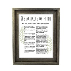 Framed Laurel Articles of Faith - Barnwood - LDP-FR-ART-AOF-LAUREL-BW