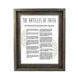 Framed Laurel Articles of Faith - Barnwood framed articles of faith, articles of faith framed