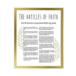 Framed Laurel Articles of Faith - Gold framed articles of faith, articles of faith framed