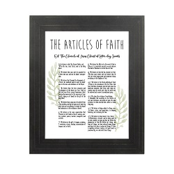 Framed Laurel Articles of Faith - Gold Pinstripe framed articles of faith, articles of faith framed