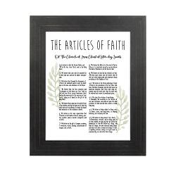 Framed Laurel Articles of Faith - Gold Pinstripe framed articles of faith, articles of faith framed