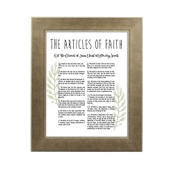 Framed Laurel Articles of Faith - Sandstone framed articles of faith, articles of faith framed