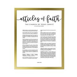 Framed Articles of Faith - Gold framed articles of faith, articles of faith framed