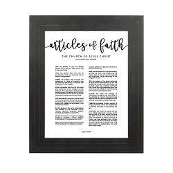 Framed Articles of Faith - Gold Pinstripe framed articles of faith, articles of faith framed
