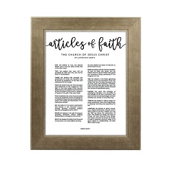 Framed Articles of Faith - Sandstone framed articles of faith, articles of faith framed