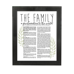Framed Laurel Family Proclamation - Beveled Black framed family proclamation, family proclamation framed, pretty family proclamation