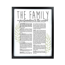 Framed Laurel Family Proclamation - Black  framed family proclamation, family proclamation framed, pretty family proclamation