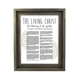 Framed Laurel Living Christ - Barnwood framed living christ, living christ framed, pretty living christ