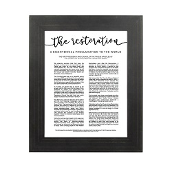 Framed Restoration Proclamation - Gold Pinstripe framed restoration proclamations, framed lds proclamations, framed lds restoration proclamations