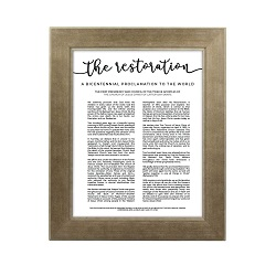Framed Restoration Proclamation - Sandstone framed restoration proclamations, framed lds proclamations, framed lds restoration proclamations