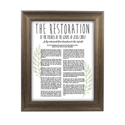 Framed Laurel Restoration Proclamation - Rustic Ash framed restoration proclamations, framed lds proclamations, framed lds restoration proclamations