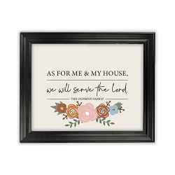 As For Me and My House Floral Wall Art - Beveled Black