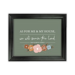 As For Me and My House Floral Wall Art - Beveled Black - LDP-ART-HOUSE-FLORAL-BVBLK