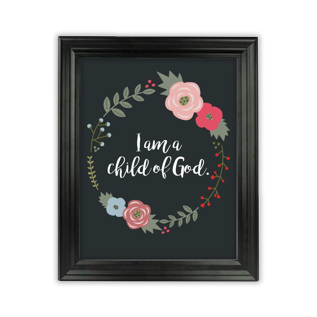 I am a Child of God Floral Wall Art - Beveled Black  - LDP-ART-COG-FLORAL-BVBLK