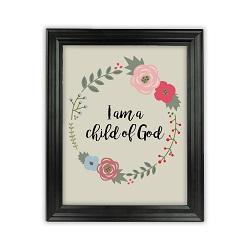 I am a Child of God Floral Wall Art - Beveled Black