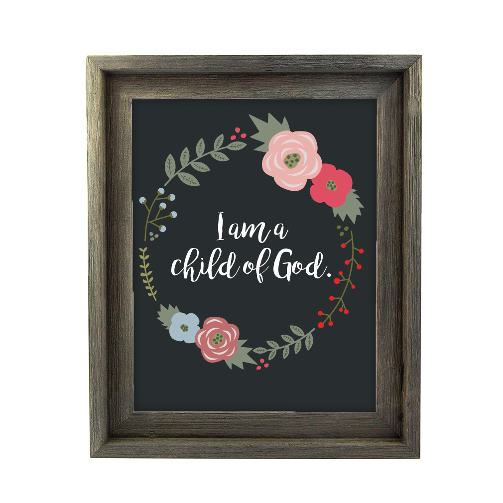 I am a Child of God Floral Wall Art - Barnwood - LDP-ART-COG-FLORAL-BW