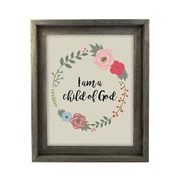 I am a Child of God Floral Wall Art - Barnwood