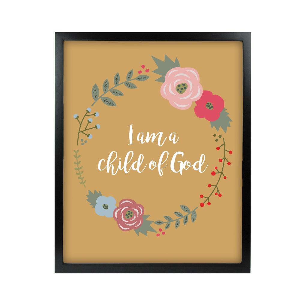 I am a Child of God Floral Wall Art - Black - LDP-ART-COG-FLORAL-BLK
