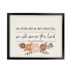 As For Me and My House Floral Wall Art - Black