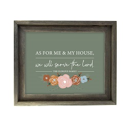 As For Me and My House Floral Wall Art - Barnwood - LDP-ART-HOUSE-FLORAL-BW