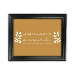 As For Me and My House Leaves Wall Art - Beveled Black
