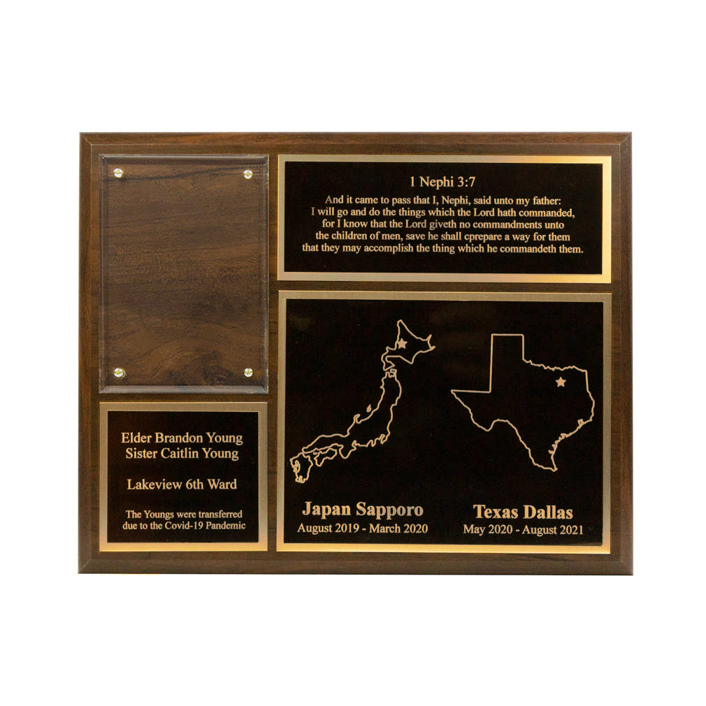 Two Mission Missionary Plaque - 8x10, Gold/Silver - LDP-MP8x10-2MISSION