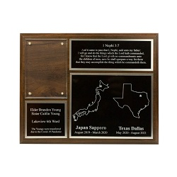 Two Mission Missionary Plaque - 8x10, Gold/Silver two mission plaque, lds mission plaque, lds missionary plaque