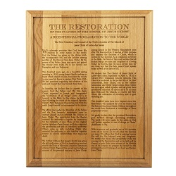 Restoration Proclamation Wood Plaque lds wood plaque, restoration proclamation wood plaque