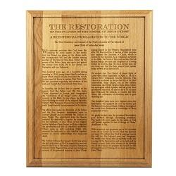 Restoration Procalmation Wood Plaque lds wood plaque, restoration proclamation wood plaque