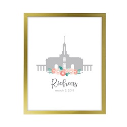 Personalized Flower Temple Print - Gold lds poster, lds temple poster, lds temple vector poster