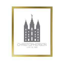 Personalized Outline Temple Print - Gold framed lds temple art, lds temple vector, lds temple art, framed temple art, framed temples