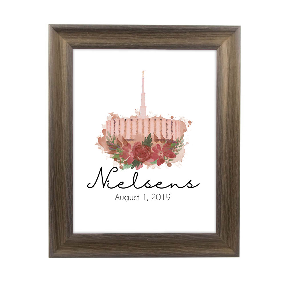 Personalized Rose Watercolor Temple Print - Rustic Ash - LDP-FR-ART-ROSETEMP-ASH