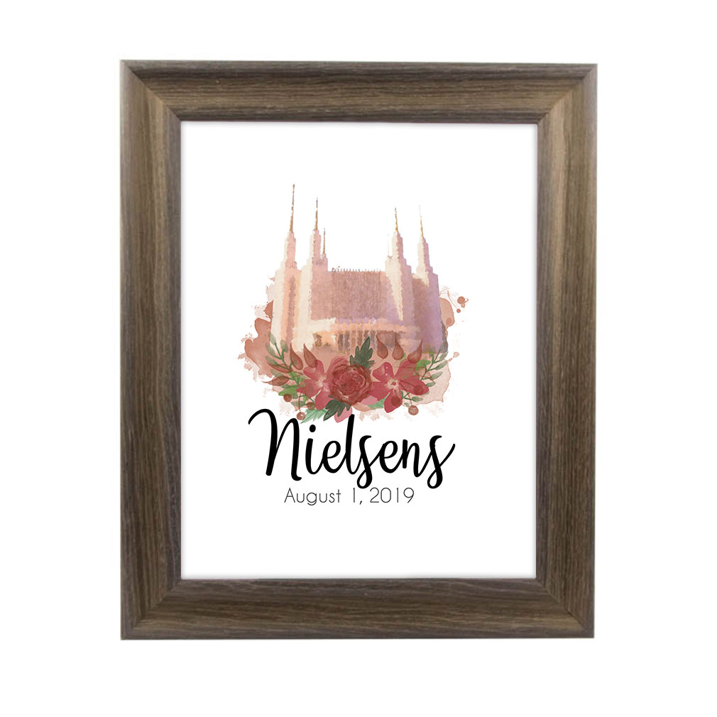 Personalized Rose Watercolor Temple Print - Rustic Ash