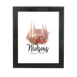 Personalized Rose Watercolor Temple Print - Beveled Black lds poster, lds temple poster, lds temple vector poster