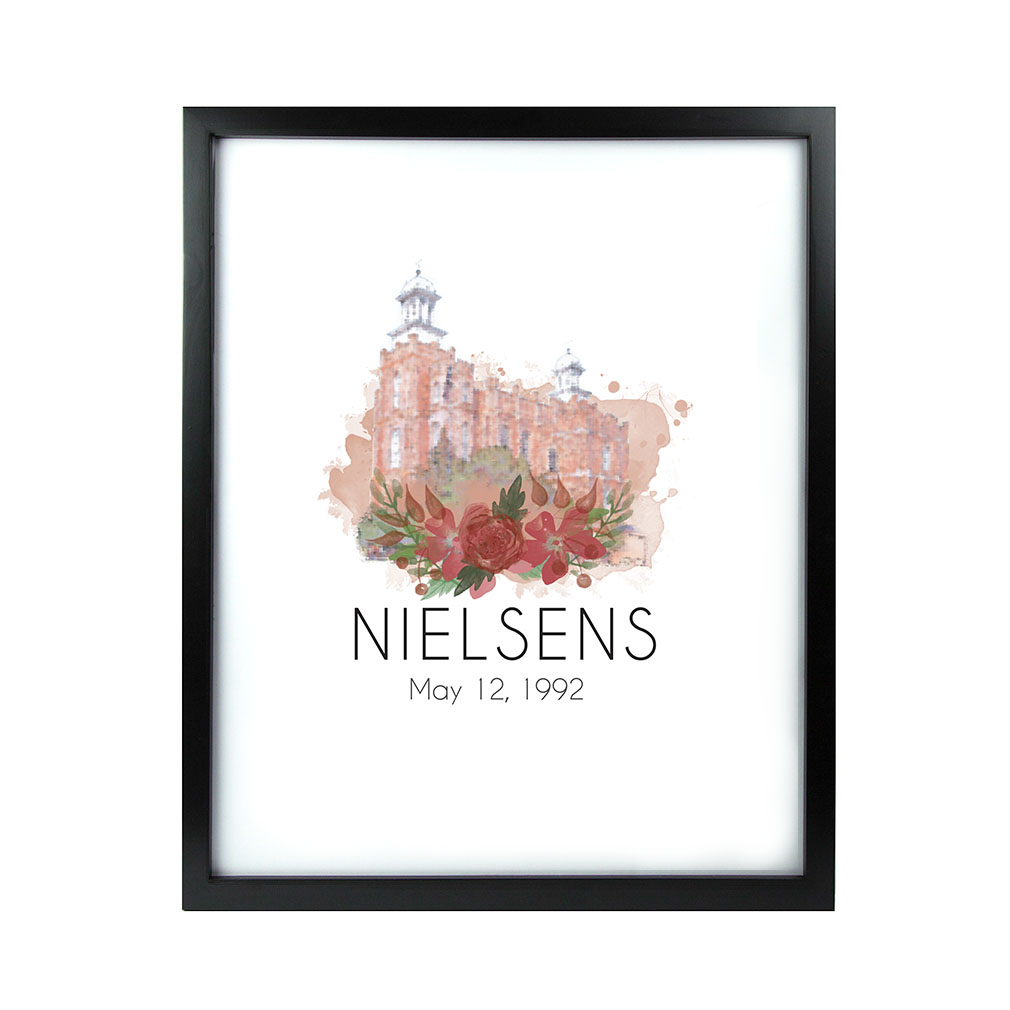 Personalized Rose Watercolor Temple Print - Black - LDP-FR-ART-ROSETEMP-BLK