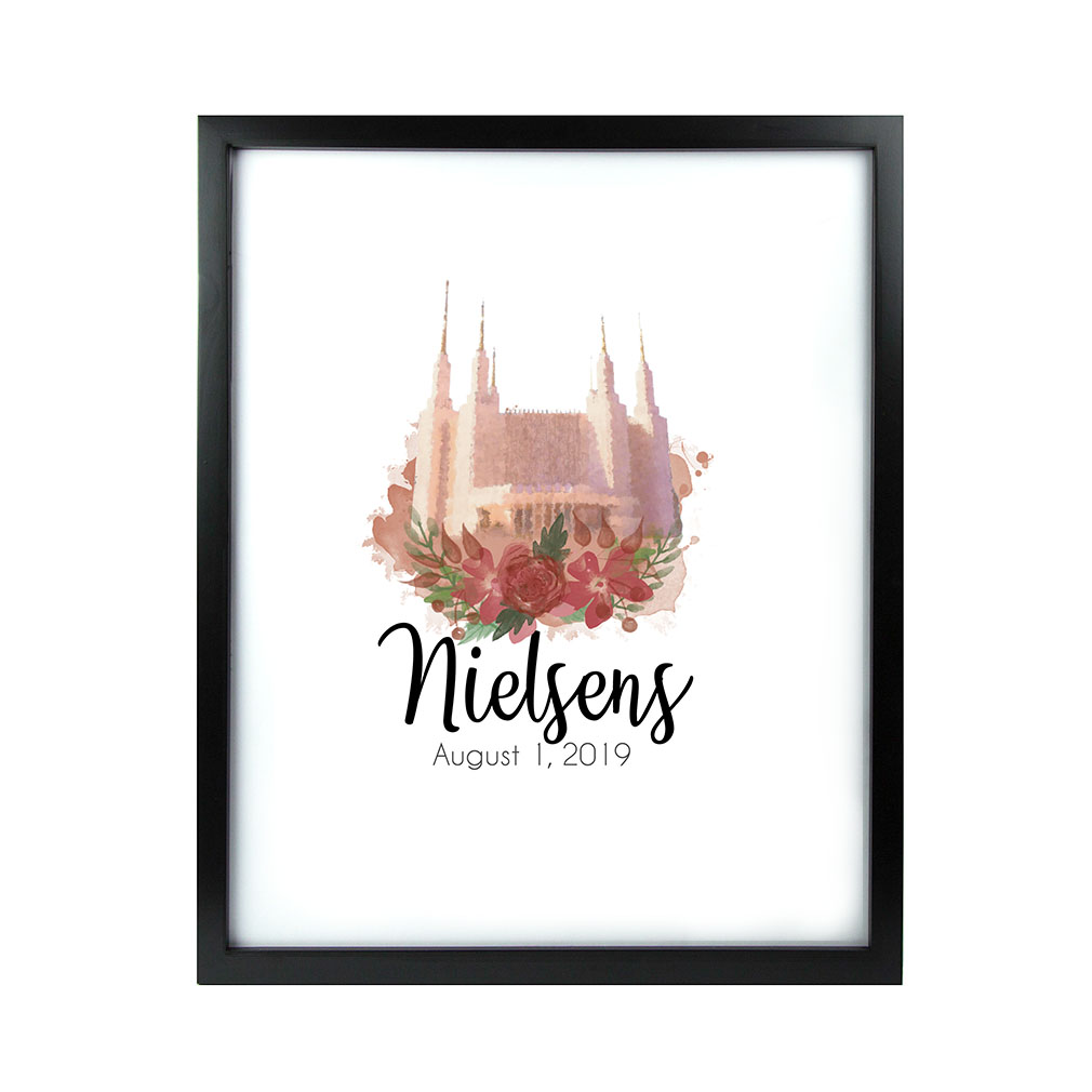 Personalized Rose Watercolor Temple Print - Black lds poster, lds temple poster, lds temple vector poster