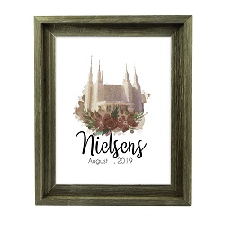 Personalized Rose Watercolor Temple Print - Barnwood - LDP-FR-ART-ROSETEMP-BW